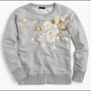 J.Crew Floral Embroidered Terry Sweatshirt NWT